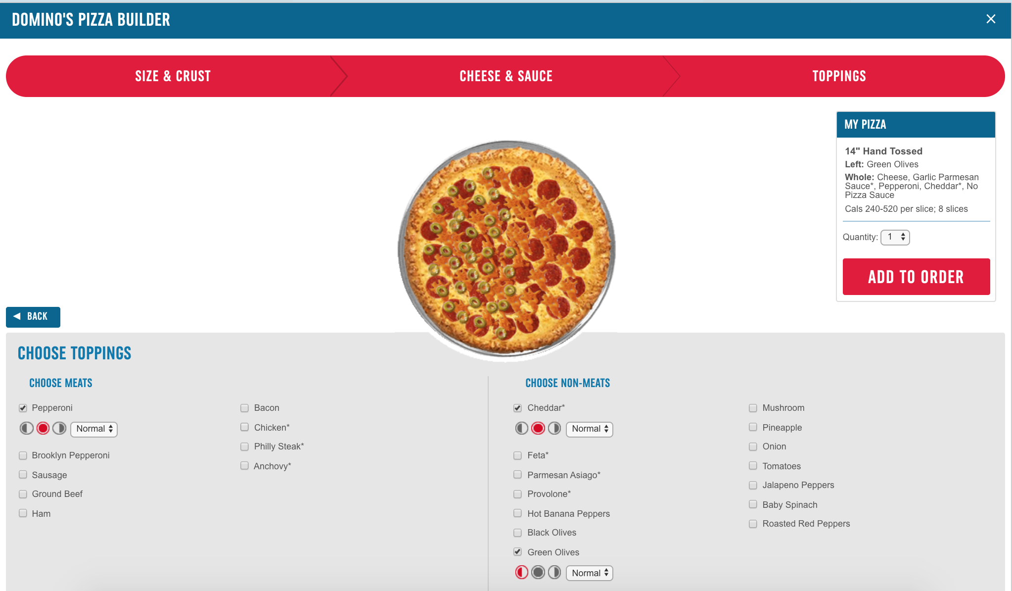 A screenshot of the dominos custom pizza builder