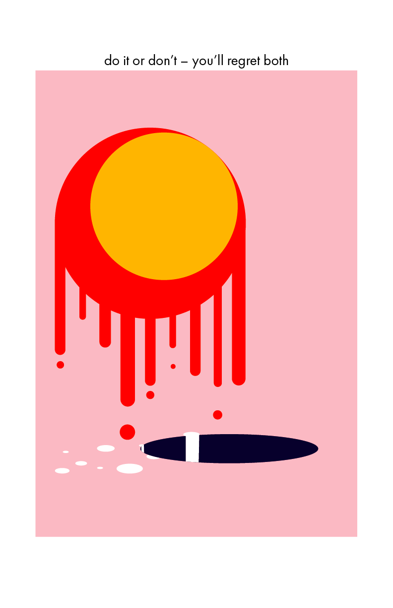 A digital drawing of a pink sun dripping into a hole