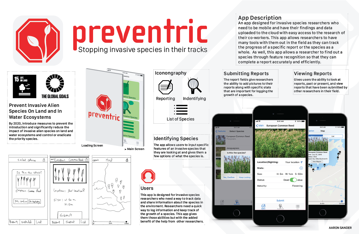 A poster marketing an app called preventric that helps track the growth of invasive species across Canada