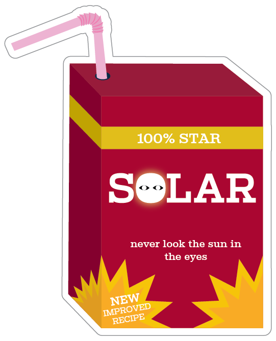 A sticker of a new drink called solar